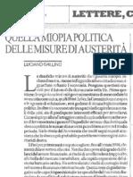 Luciano Gallino miopia politica misure austerità 14 luglio 2011