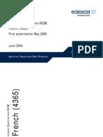 UG014343 IGCSE French Specimen Papers Mark Schemes