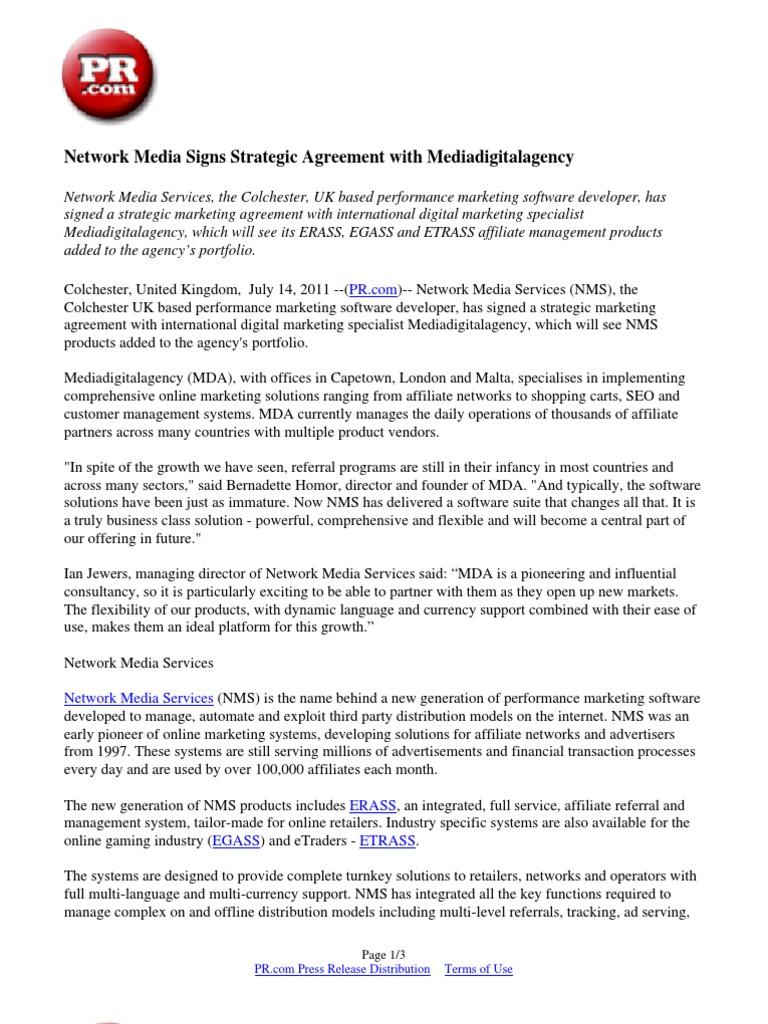 Network Media Signs Strategic Agreement With Mediadigitalagency