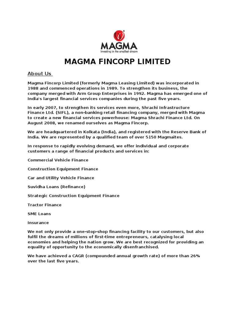 Magma Fincorp Limited Insurance Business