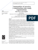 Communities of Practice in Construction Case Study Organ is at Ions- Questions and Insights