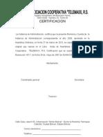 Cooperativa Memoria y Cuenta Certificaciones