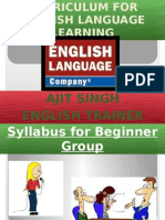 Curriculum for English Language Learning