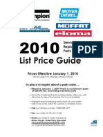 Champion Parts PriceList 2010