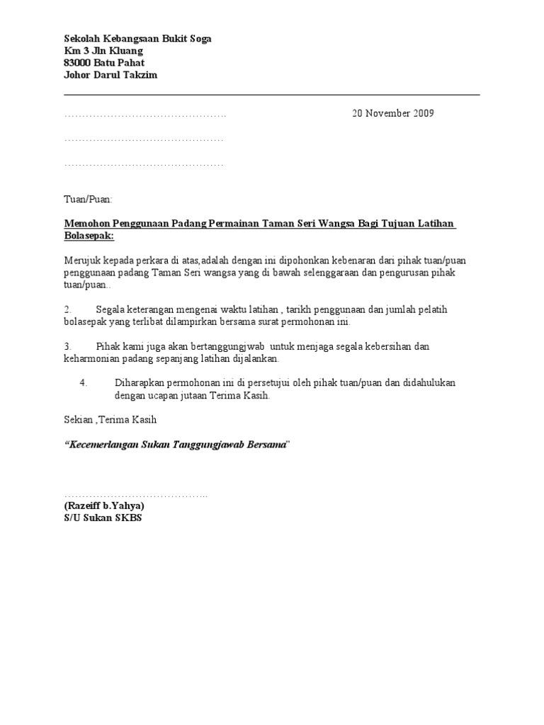 Contoh Surat Permohonan Kebenaran Bekerja
