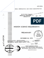 Apollo Mission J-1 (Apollo 15) Mission Science Requirements Preliminary