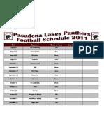 Pasadena Panthers Schedule