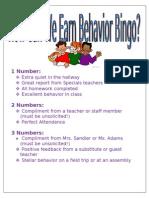 Behavior Bingo Rules