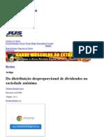 Da distribuição desproporcional de dividendos na sociedade anônima - Revista Jus Navigandi - Doutrina e Peças