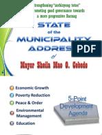 State of the Municipality Address of Mayor Sheila Mae O. Cebedo