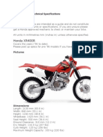 Honda XR400R Technical Specifications