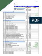Tabela de Preços Projetos DNIT