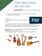 INSTRUMENTOS - Classificação dos instrumentos musicais