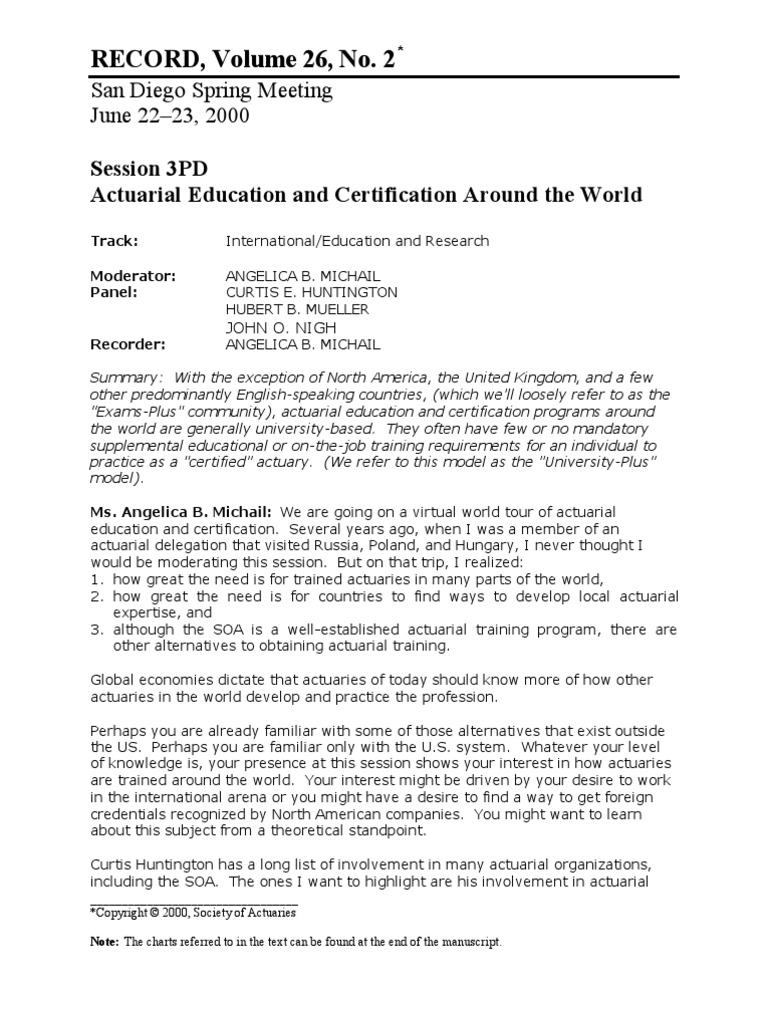 Actuarial Education Certification Around The World Actuary