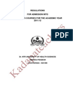 Ntr University Mbbs-bds Admisssions Regulations 2011