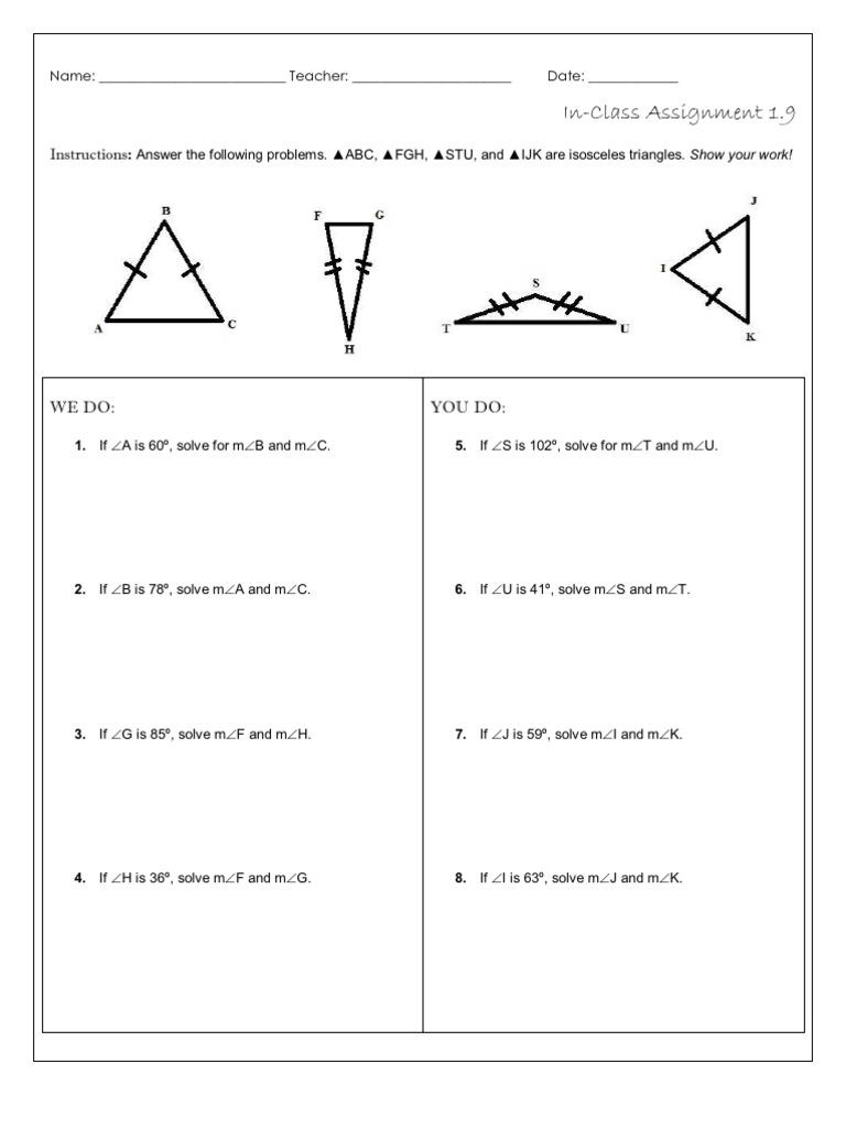 1.9: Applying Properties of Isosceles Triangles (Worksheet)