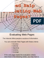 Evaluating Web Pages Tutorial