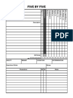 Five by Five Character Sheet