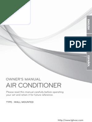 LG Split Type Aircon User Manual   Air Conditioning   Hvac