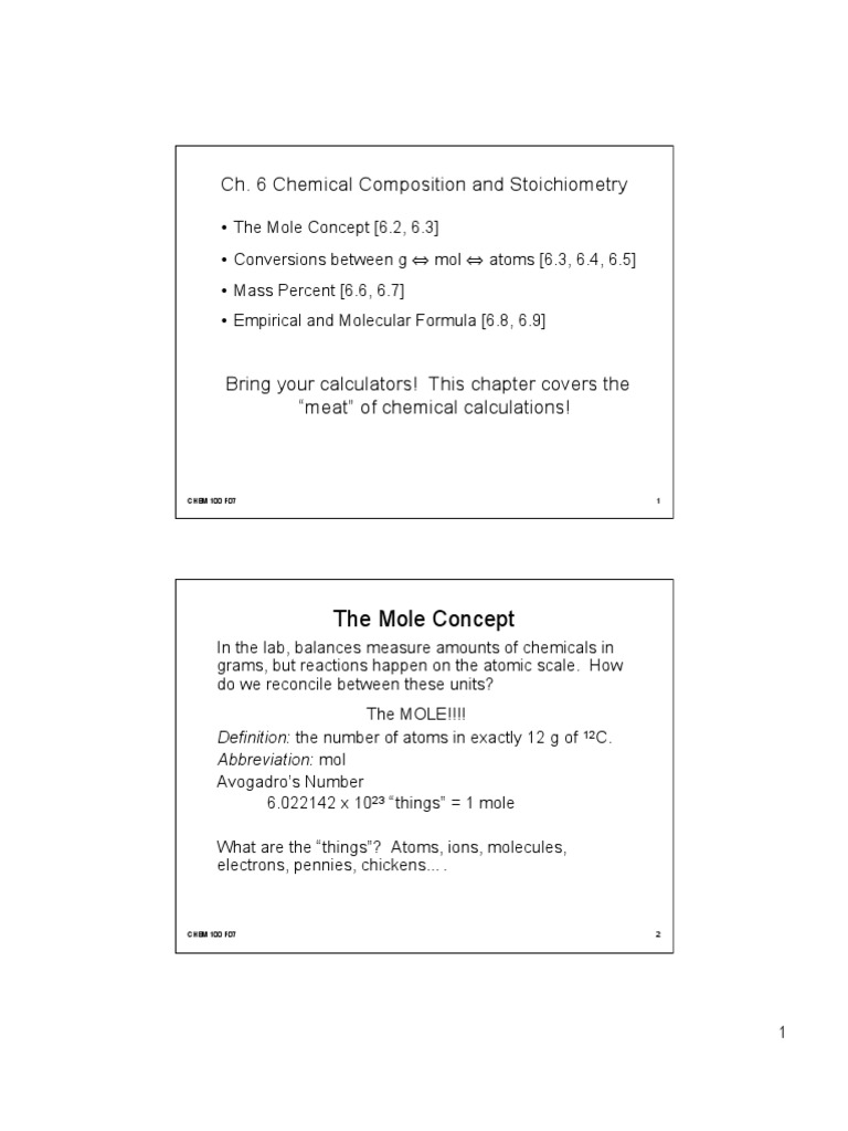 Ch6 | Mole (Unit) | Molecules
