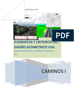 elementos y criterios del diseño geometrico y vial  4to  TRABAJO CAMINOS I