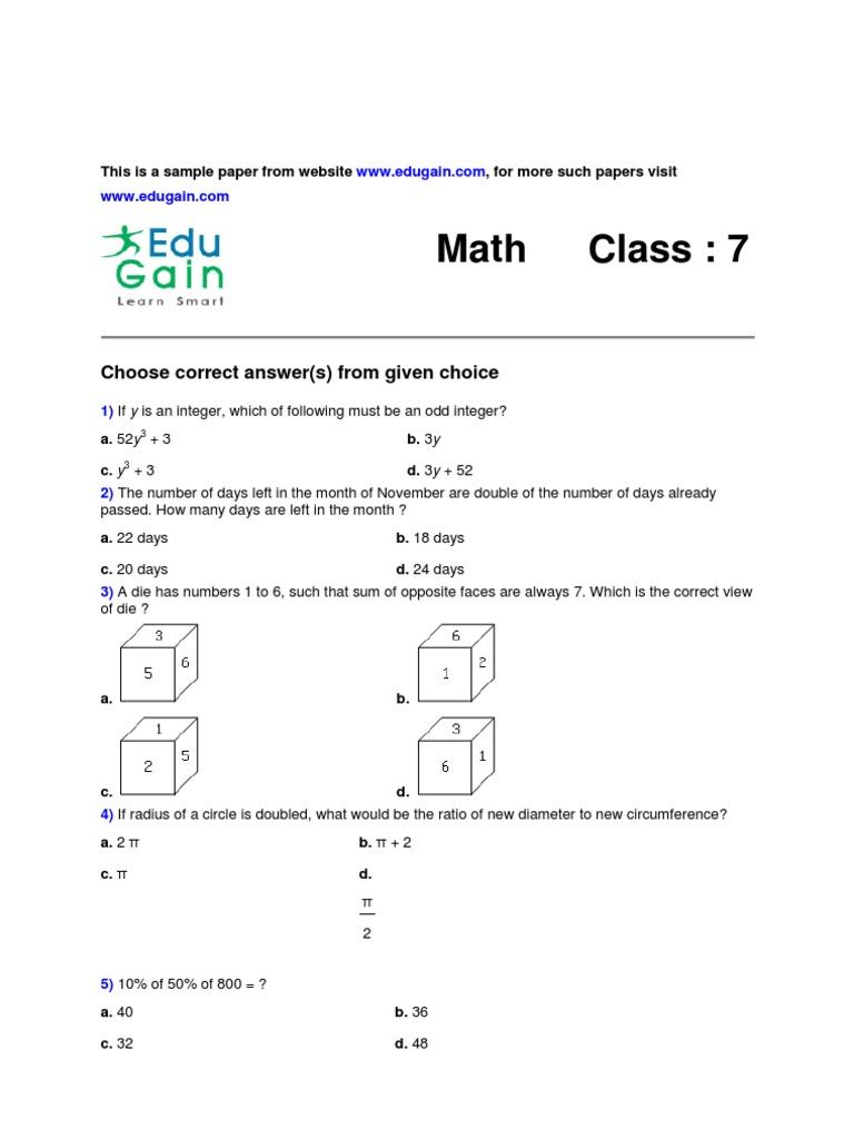 Class 7 sample math olympiad paper fandeluxe Gallery