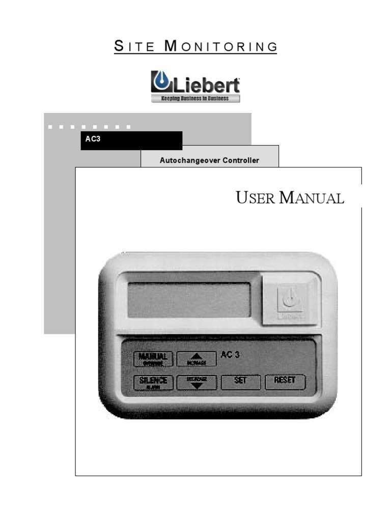 Liebert Ac3 Auto Change Over | Electromagnetic Interference | Relay