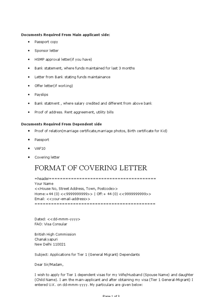 all documents covering letter format fee travel visa