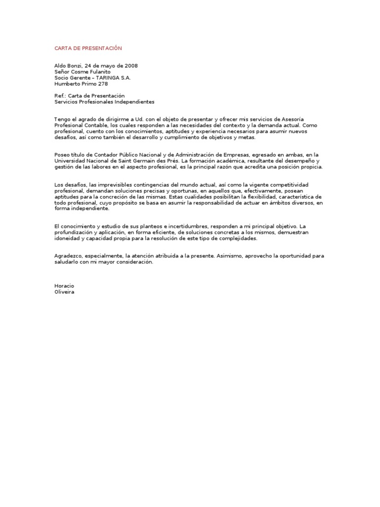 carta de presentaci u00d3n servicios profesionales independientes