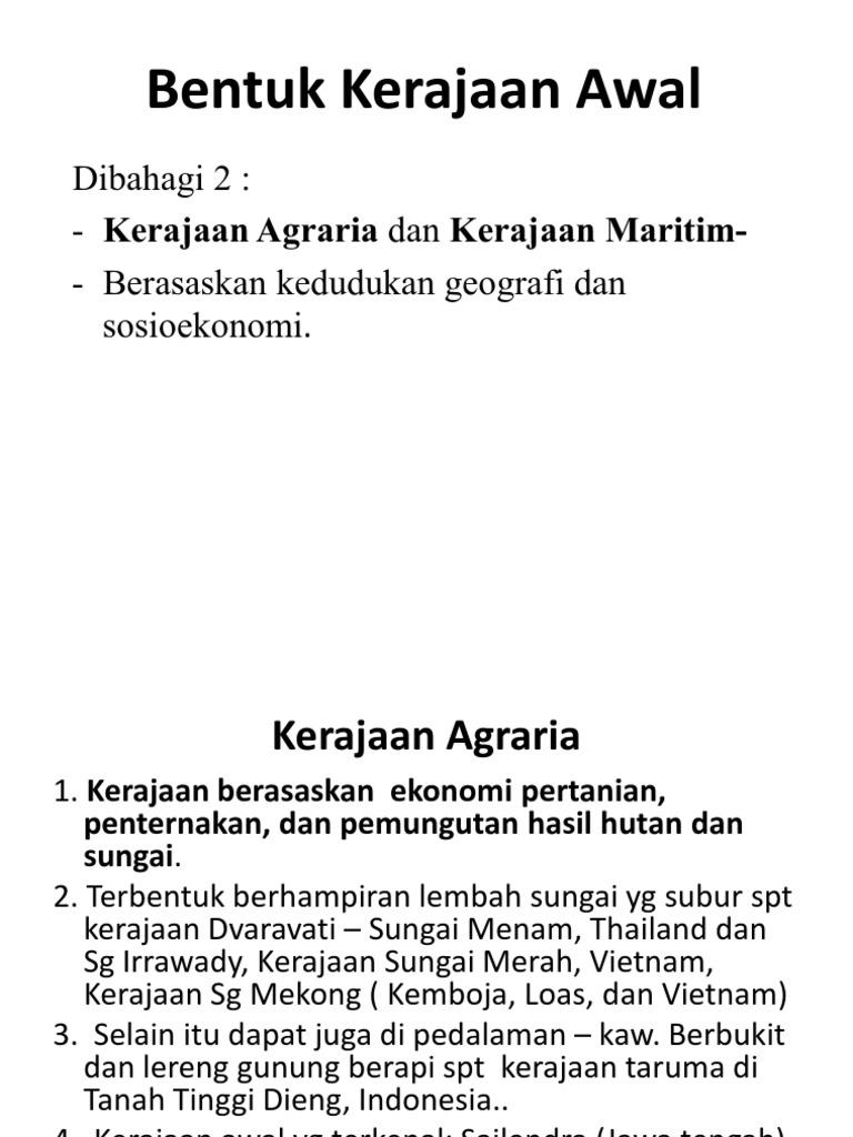 Kerajaan Maritim Dan Agraria