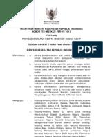 PMK No. 755 Ttg Penyelenggaraan Komite Medik Di Rumah Sakit