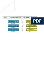 2020 Runners Up - Semi Final - games to be played 24/07/2011