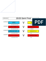 2020 Semi Final - Games to be played 24/07/2011