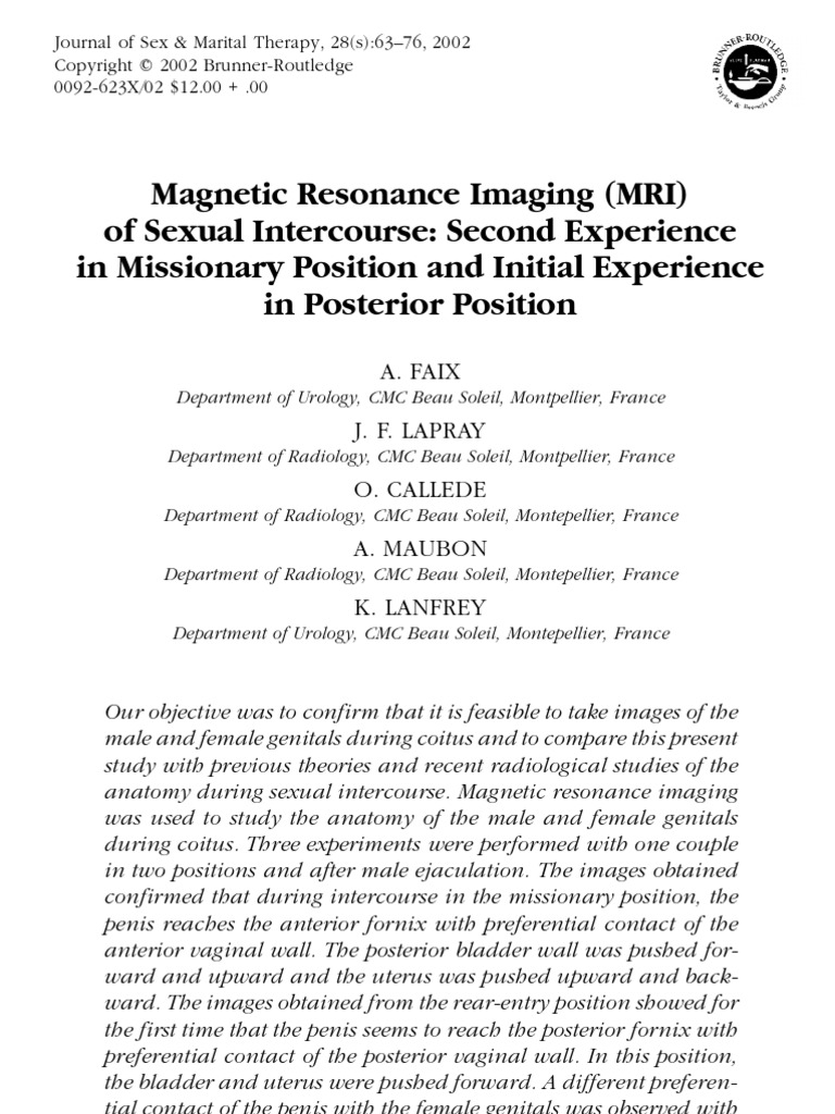 Magnetic Resonance Imaging Mri Of Sexual Intercourse Manual Guide