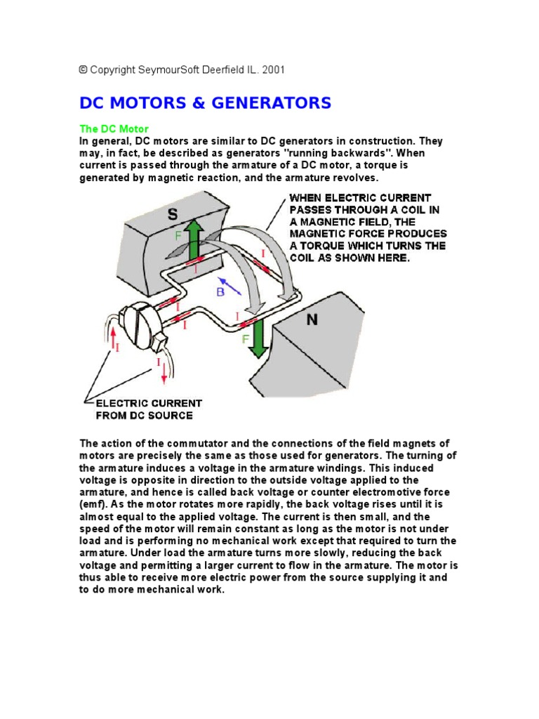 The DC Motor [PDF Library] | Voltage | Electric Motor