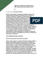 LISTADO DE MIEMBROS DEL CONSEJO DE ESTADO DE LA REPÚBLICA DE CUBA Actualizado hasta Diciembre 2009