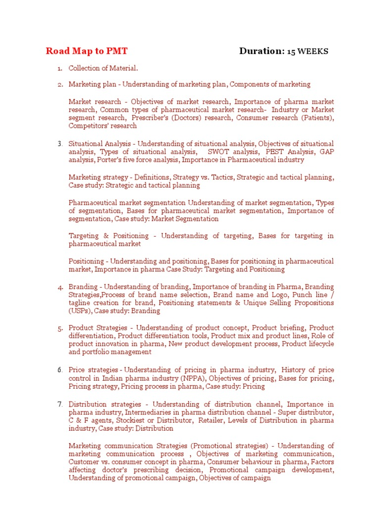 Road Map to PMT | Strategic Management | Distribution (Business)