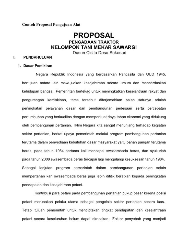 Contoh Proposal Pengajuan Bantuan Peralatan Usaha ...