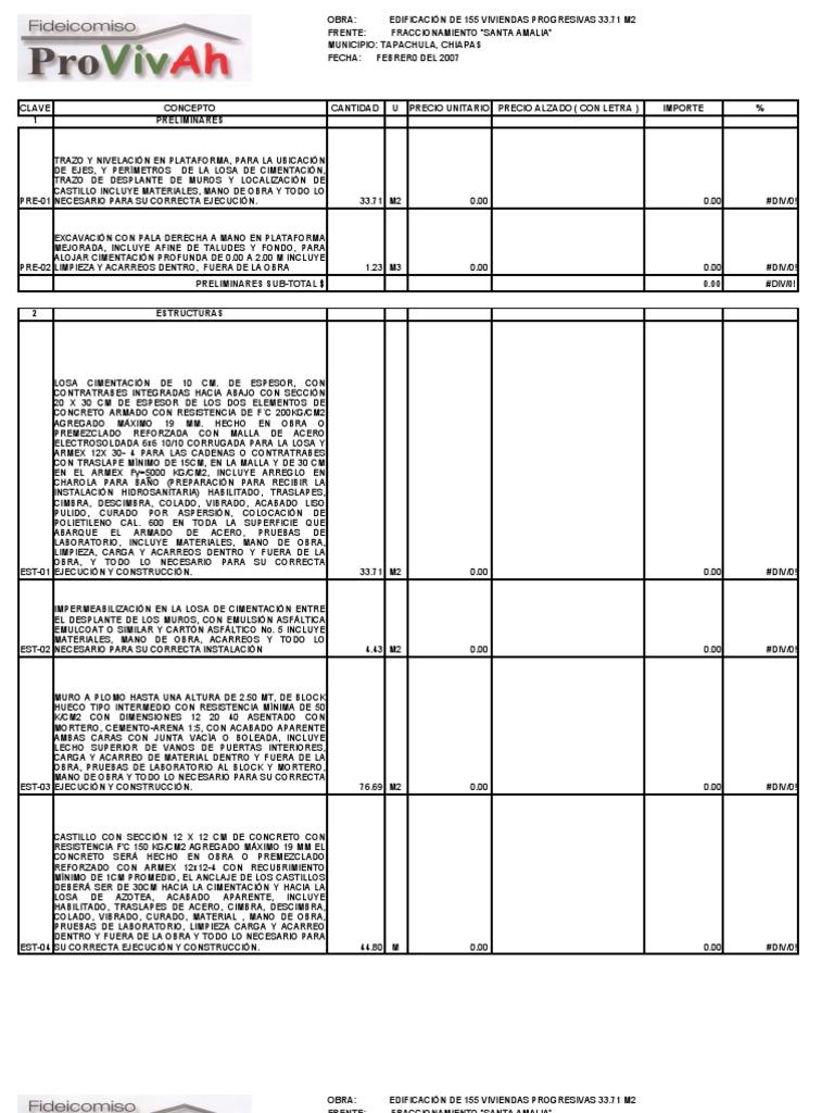 Catalogo de conceptos casa habitacion for Catalogo casa