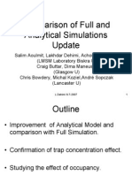Comparison of Full and Analytical Simulations Update
