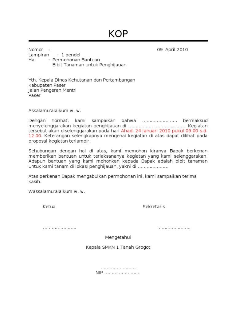 Surat Permohonan Bibit