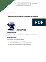 Unit 7 ( CONSTRUCTION OF RIGID/CONCRETE PAVEMENT )
