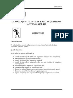 Unit 7 Land Acquisition The Land Acquisition Act 1960 Act 486 Eminent Domain Virtue