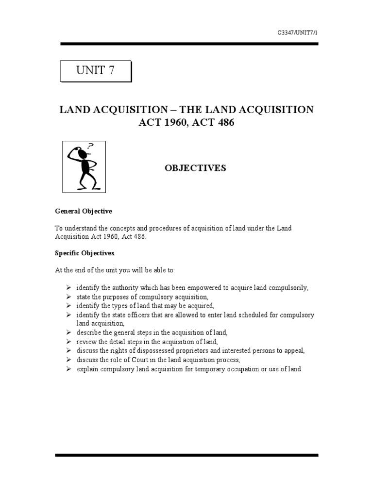 Unit 7 Land Acquisition The Land Acquisition Act 1960 Act 486