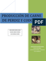 PRODUCCIÓN DE CARNE DE PERDIZ Y CODORNIZ