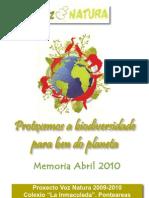 Memoria Voz Natura. Abril 2010