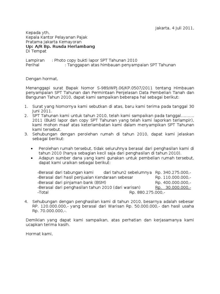 Surat Tanggapan Pajak P Iwan