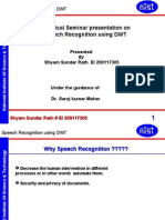 Speech Recognition Using DWT