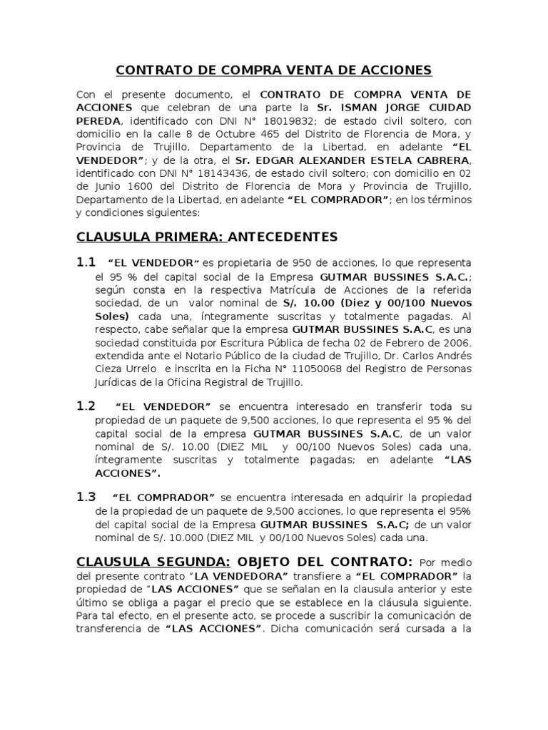 Excepcional Plantilla De Acuerdo De Adquisición Friso - Ejemplo De ...