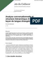 Analyse conversationnelle et structure hiérarchique CEDISCOR